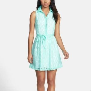 Kensie Dresses - Kensie Mint Green Daisy Lace Button Down Dress